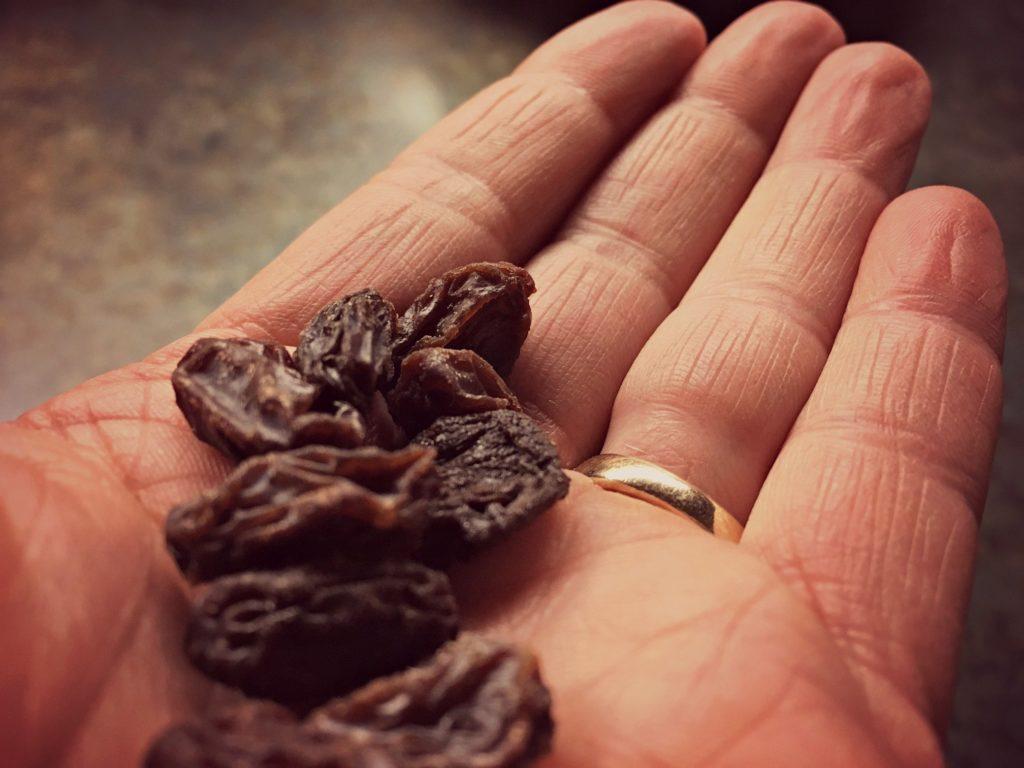 raisins in hand