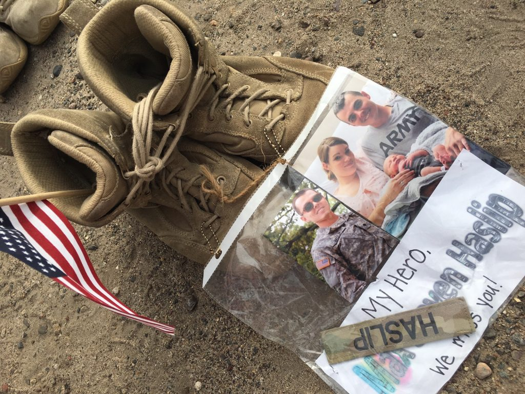 Army boots with family photo